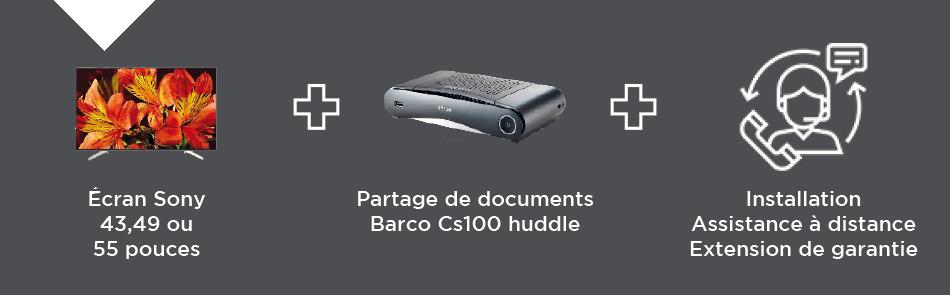 VIDELIO x Sony, les produits et services composants le pack Interact'Room écran équipé de TEOS partager sans fil et collaborer