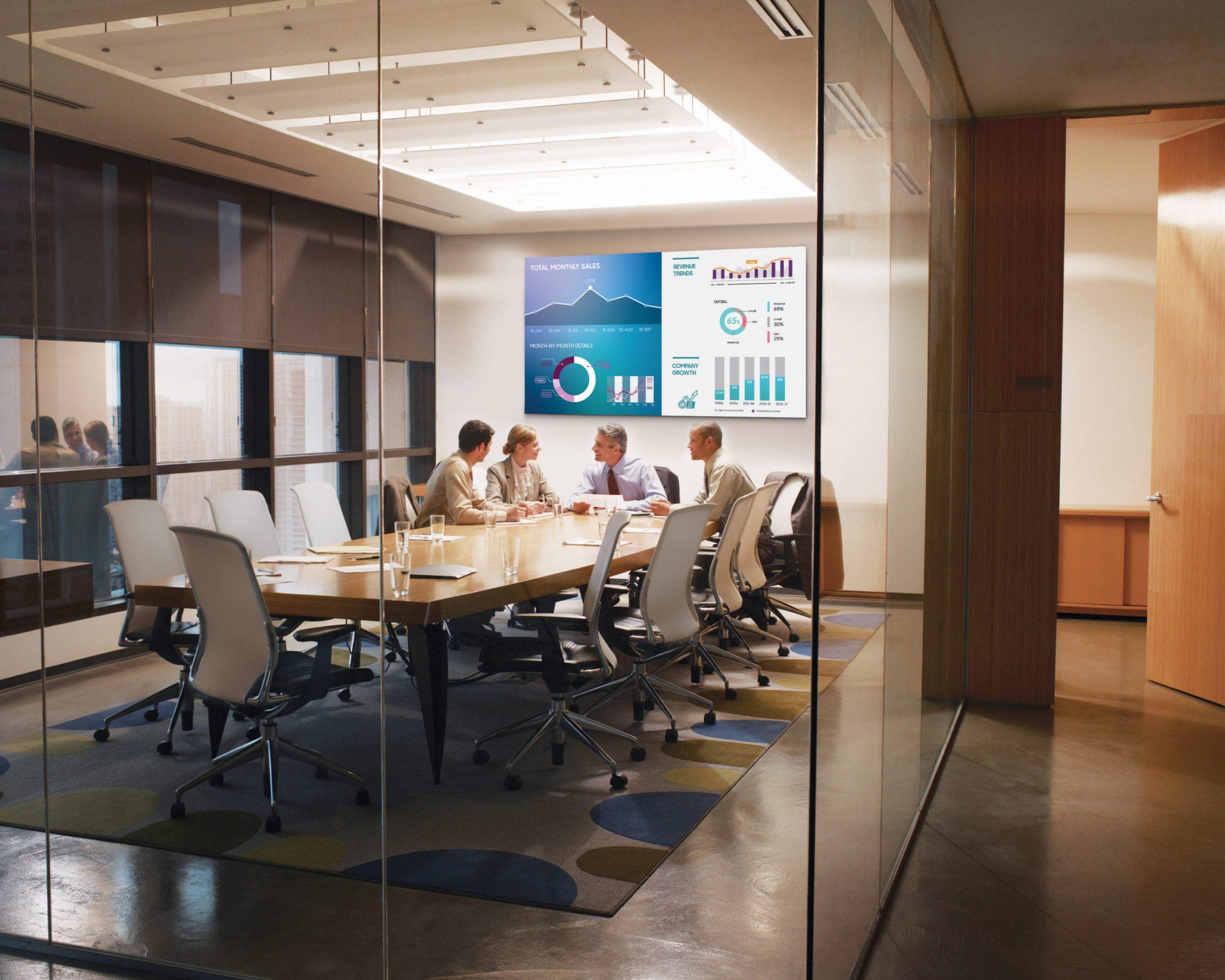 VIDELIO x Samsung 4 personnes en train de collaborer dans une salle de réunion où il y a une écran de la la Gamme Smart Signage