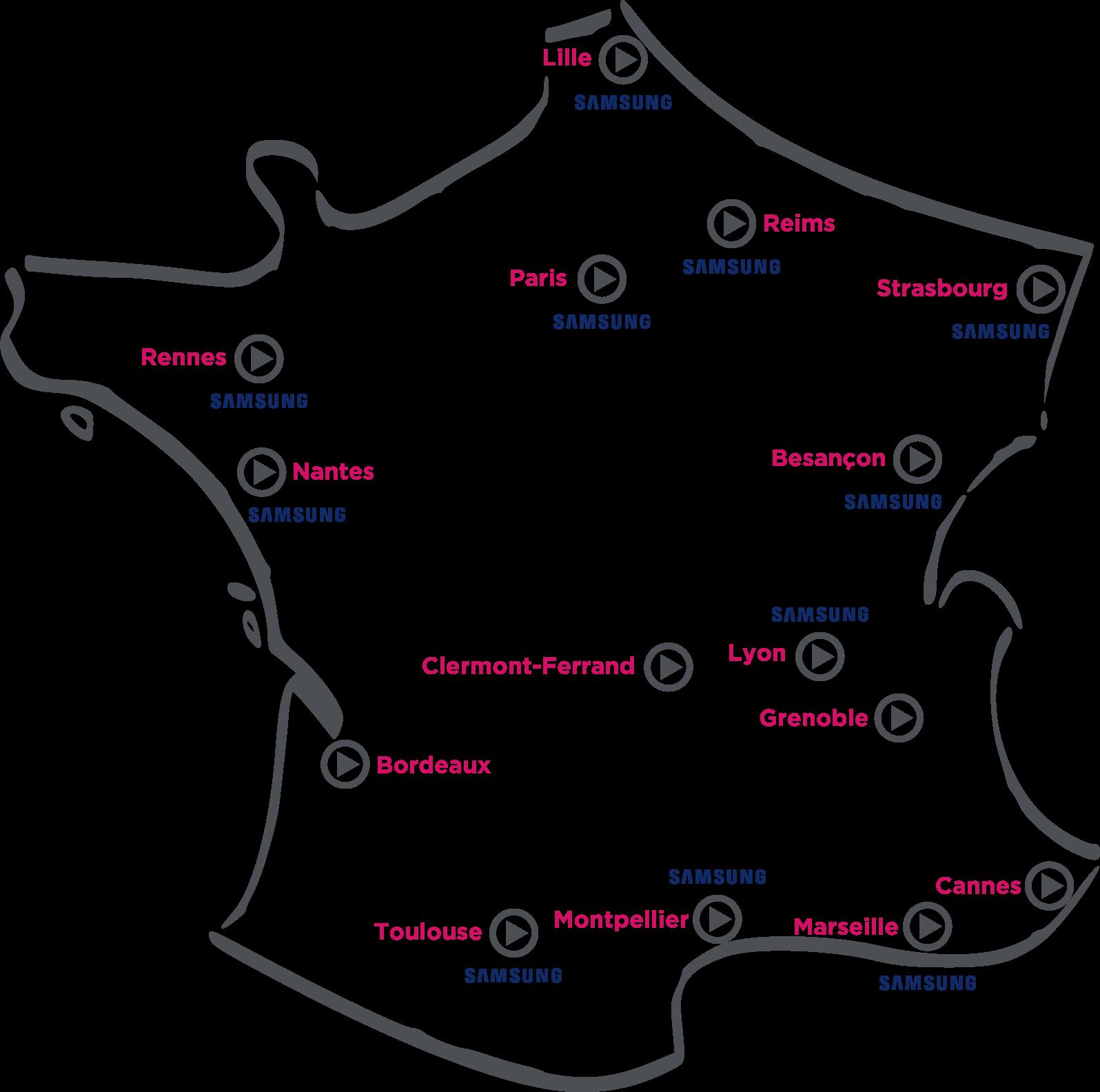 Carte de France des agences VIDELIO avec Showroom Samsung