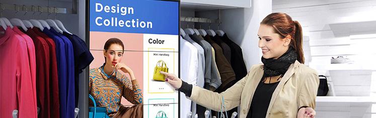 VIDELIO x Samsung exemple d'affichage dynamique dans un magasin de vêtement