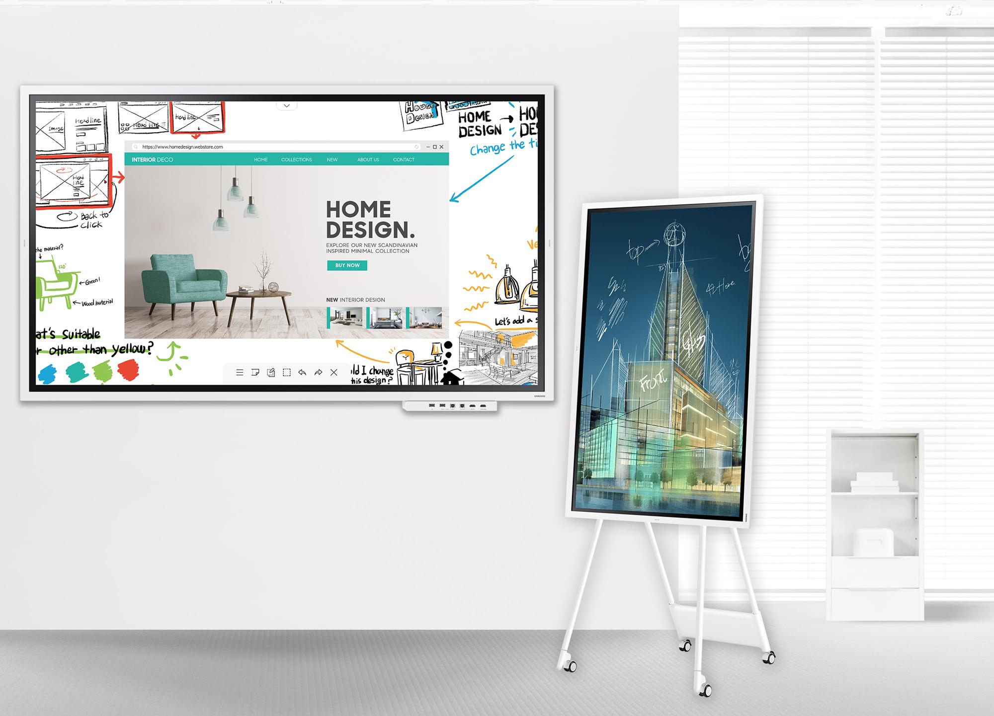 VIDELIO x Samsung présentation des 2 Flip l'un vertical avec support à roulettes et l'autre horizontal fixé au mur