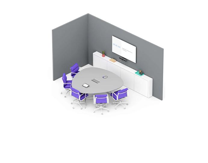 VIDELIO x Logitech Petite salle de réunion 5 places avec Logitech Swytch et Meetup