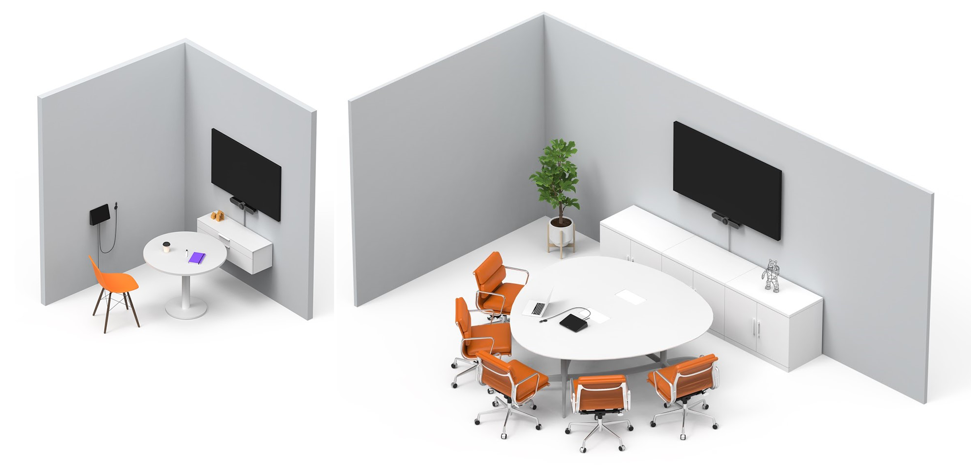 VIDELIO x Logitech Exemples implantation de la Logitech MeetUp : Focus room (1 à 2 personnes) Huddle room (3 à 6 personnes)