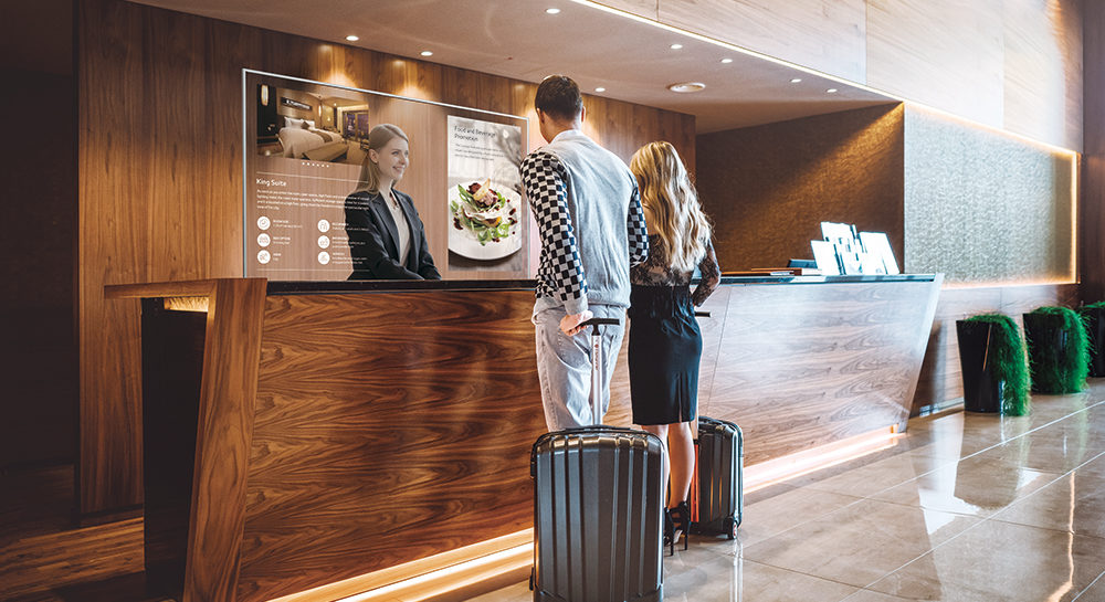 Partenaires VIDELIO x LG écran OLED tactile Solution pour les accueils des entreprises et des hôtels