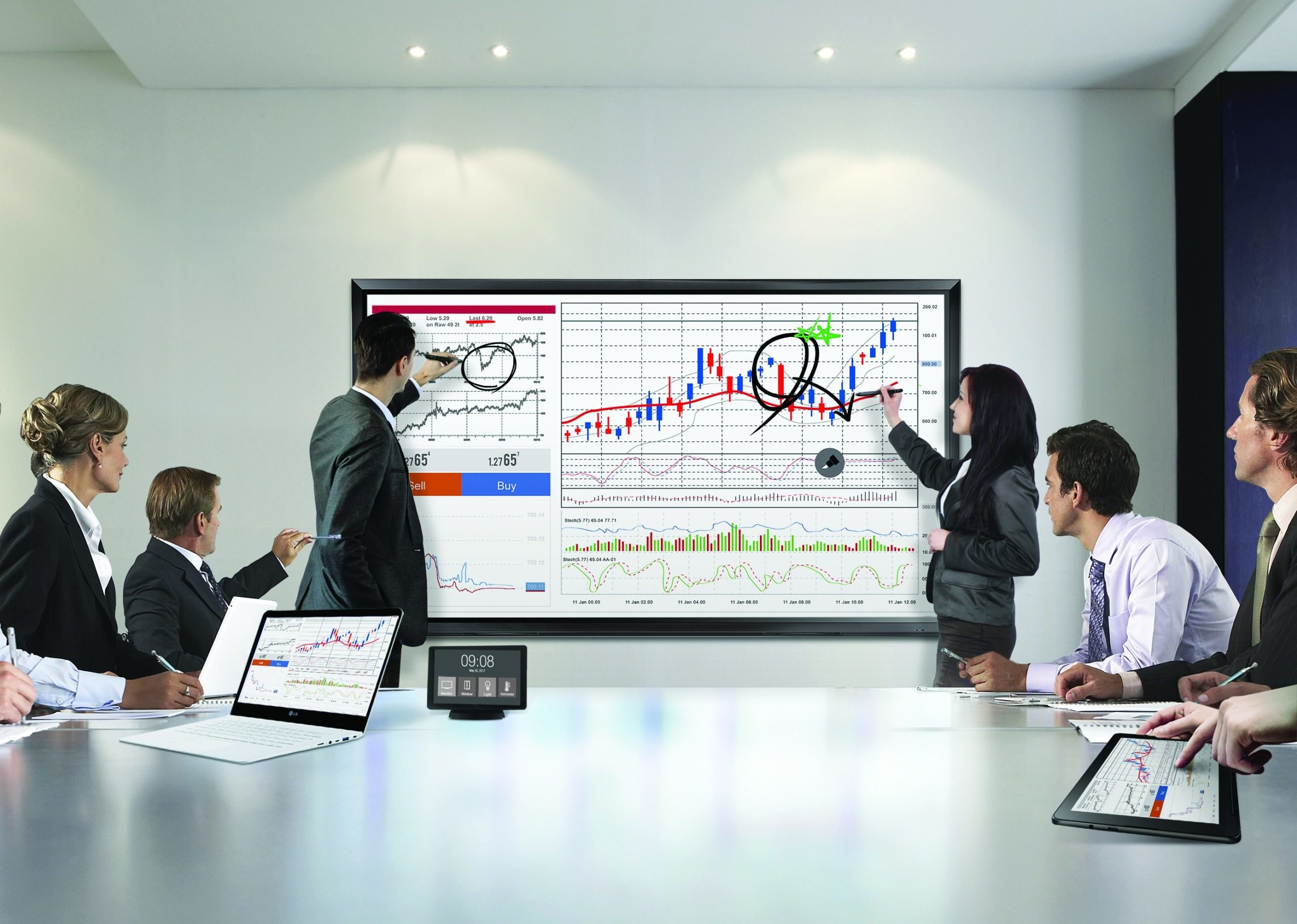 Partenaires VIDELIO x LG écran tactile réunion et formation série TC3D technologie P-Cap