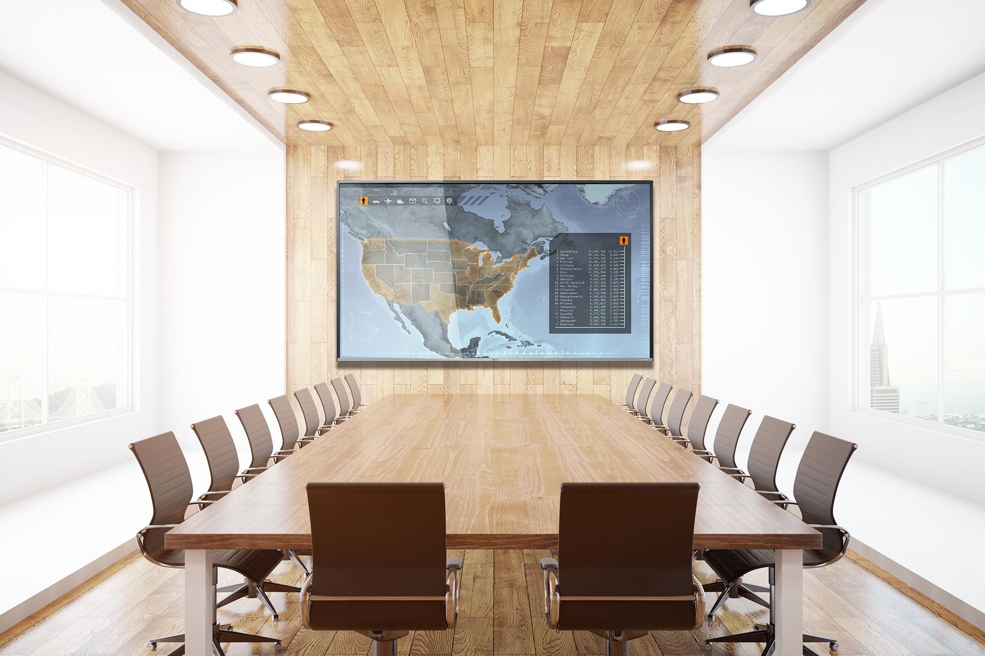 Partenaires VIDELIO x LG écran UHD pour visioconférence salle de réunion salle du conseil série UH5F-H