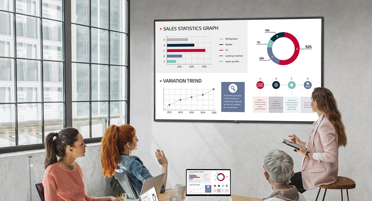 Partenaires VIDELIO x LG écran UHD pour visioconférence salle de réunion série UL3G netteté